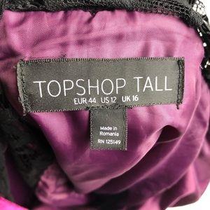 Topshop Dresses - TopShop 12 Tall Burgundy Velvet Black Lace Romper